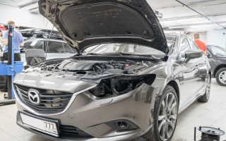 Замена ламп дальнего света Мазда 6 / Mazda 6 на светодиодные лампы Optima Cobalt H15 с ДХО